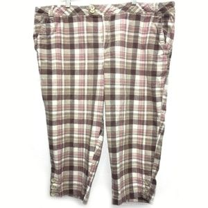 Pink Tan Plaid Capri Pants Sz 22 Fashion Bug